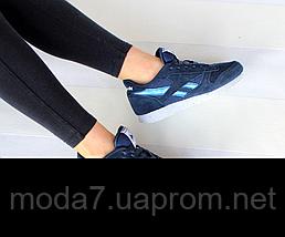 Кроссовки женские синие Reebok Classic нат. замша реплика, фото 3