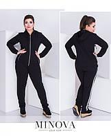 4c2269f9e4a Спортивный женский костюм из куртки с капюшоном и брюк с лампасами №0122