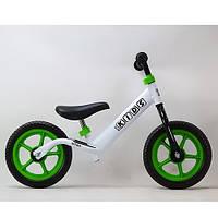Беговел велобег Profi Kids M 3436-6 бело-зеленый. Диаметр 12 дюймов.Колёса - вспененая резина EVA.