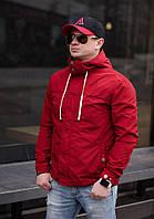 Мужская ветровка с капюшоном  , цвет красный , размеры -  44,46,48,50