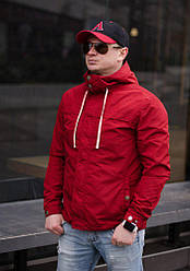 Мужская ветровка с капюшоном  , цвет красный , размеры -  44, 46