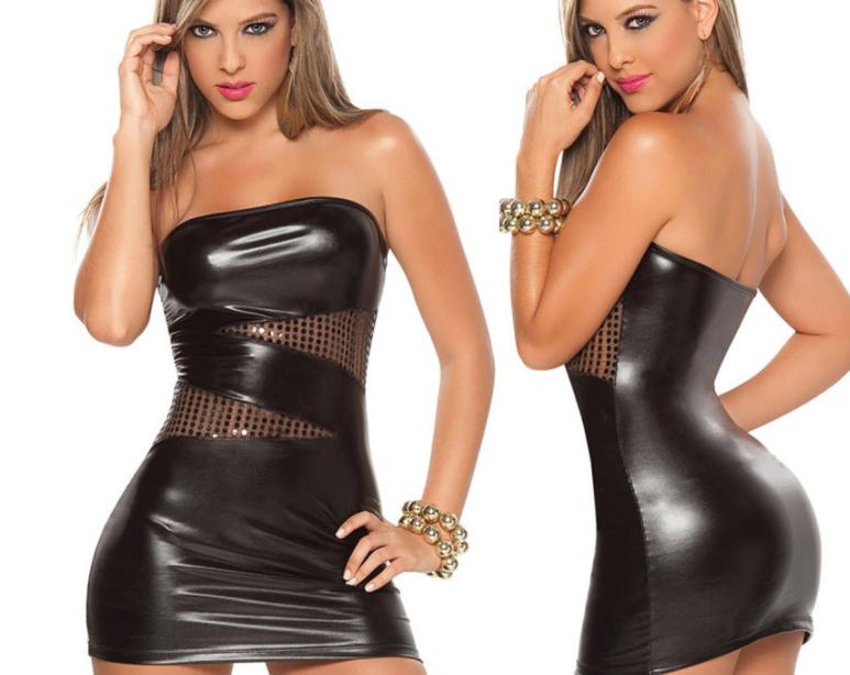 Сексуальное латексное платье