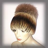 Меховая шапка из Rex Rabbit с чернобуркой (золотисто-рыжая)