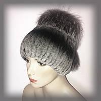 Меховая шапка из Rex Rabbit с чернобуркой (серая)
