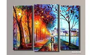 "Модульная картина на холсте ""Прогулка под дождём"" (HAT-091)"