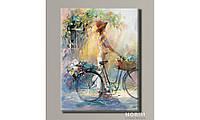 "Картина на холсте Holst Art ""Девушка с велосипедом"" (HAS-399)"