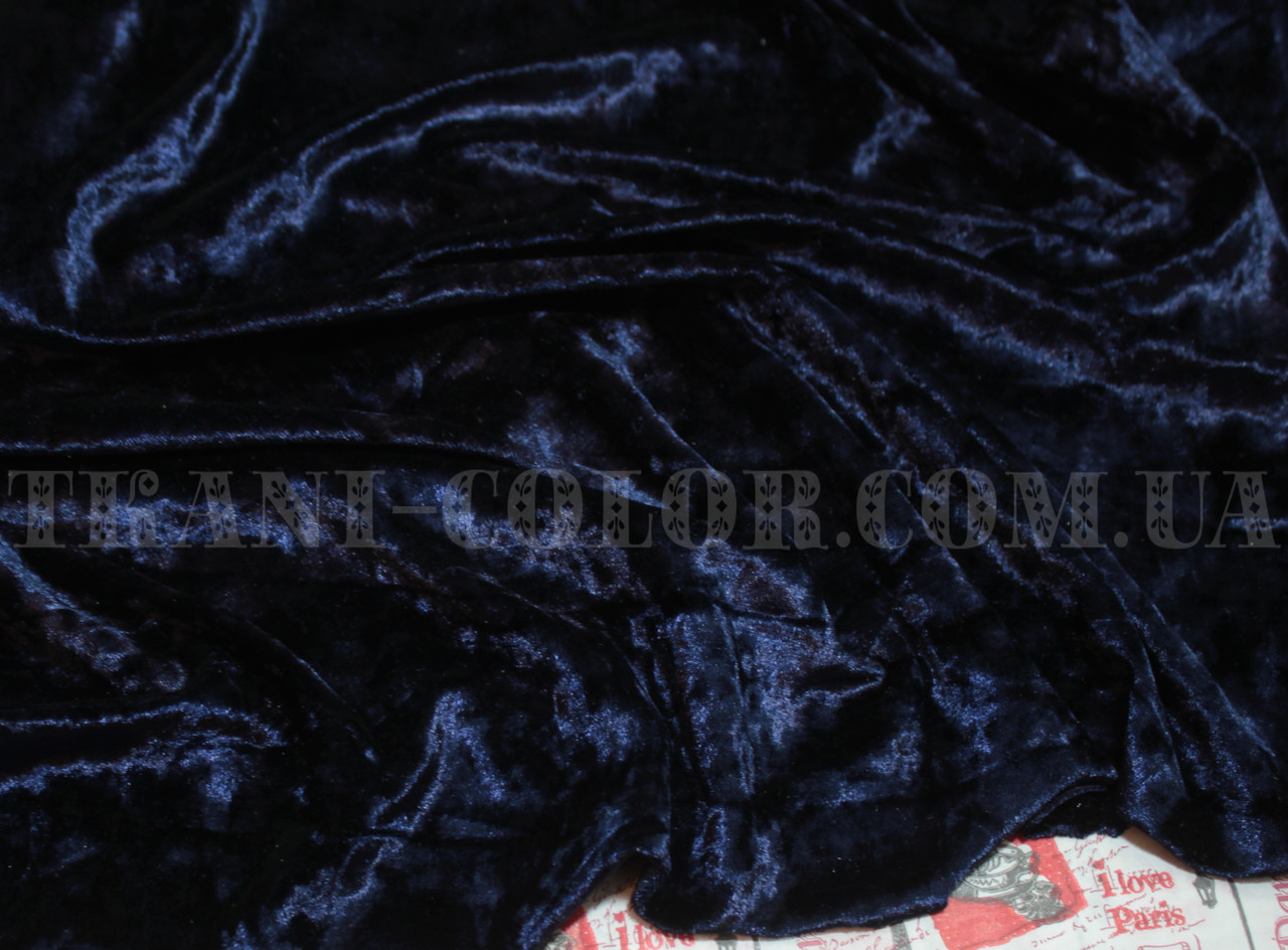 Ткань бархат-мрамор стрейчевый темно-синий