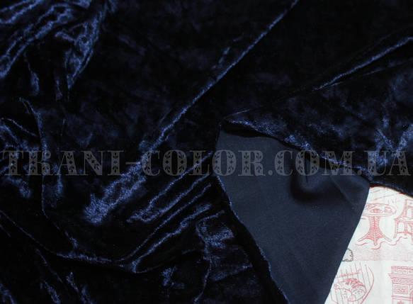 Ткань бархат-мрамор стрейчевый темно-синий, фото 2
