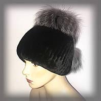 Меховая шапка из Rex Rabbit с чернобуркой (черная)