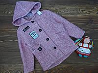 """Пальто кашемировое с капюшоном """"Norm"""" для девочки розовое р.122-140"""