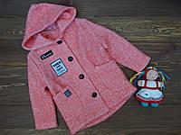 """Пальто кашемировое с капюшоном """"Norm"""" для девочки коралловое р.122-134"""
