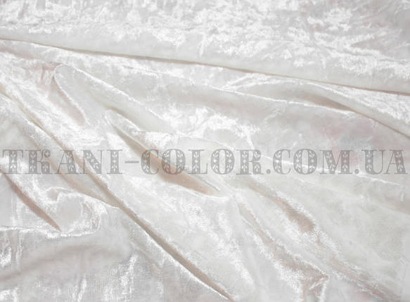 Ткань бархат-мрамор стрейчевый молочный, фото 2