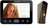 Копмлект домофона Kenwei E706C (black) и панель KW-139M-C light version