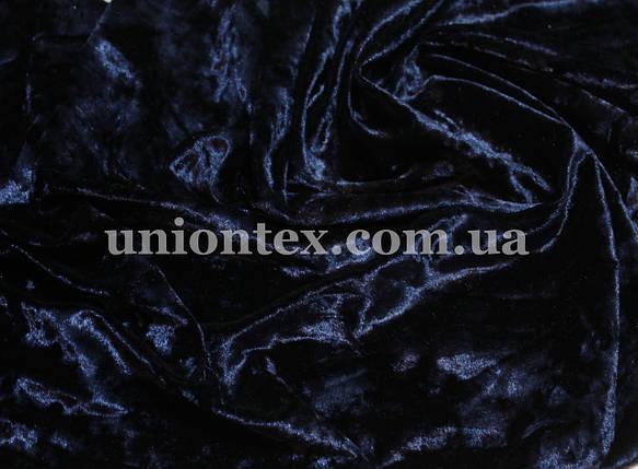 Бархат стрейч мрамор темно-синий, фото 2