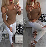 Кофточка блузка туника худи с открытыми плечами Адель, фото 2