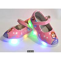 Светящиеся туфли для девочки, 24 размер (14.4 см), LED-мигалки, кожаная стелька, супинатор
