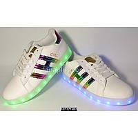 Светящиеся кроссовки, 39 размер, 11 режимов LED подсветки, зарядка от USB кабеля