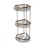 Полка металлическая угловая тройная 18см ( Versace ), бронза V 018/3