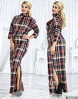 Длинное платье больших размеров 48+, на кулиске, принт клетка арт 3/228-41