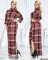 Длинное платье больших размеров 48+, на кулиске, принт клетка арт 4/228-41