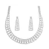 Комплект свадебной бижутерии (колье + серьги) гальваническое серебрение с белыми кристаллами Лиза 158368