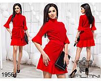 Женственное платье с воланами и поясом размеры М-ХL, фото 1