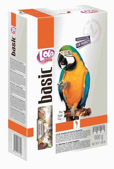 Полнорационный корм для крупных попугаев 900 гр Lolopets