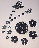 3-D часы настенные бабочки черные