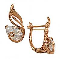 Серьги  фирмы XР, цвет советского золота. Камни: белый циркон. Высота серьги 2 см. ширина 11 мм.