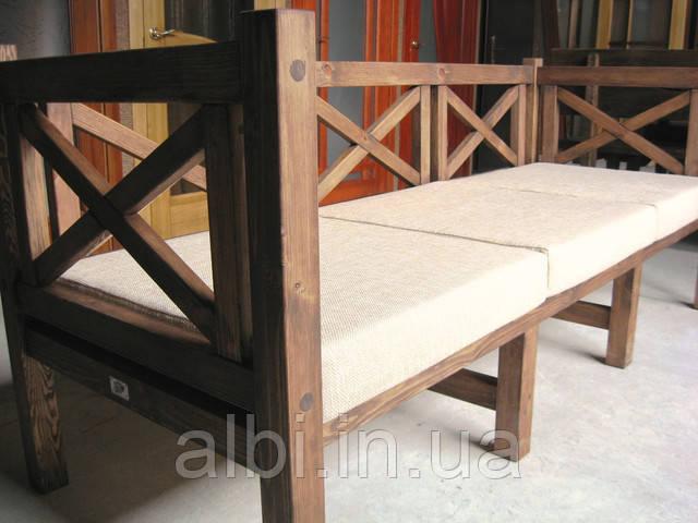 Скамья садовая со спинкой, деревянная мебель для дачи Эмине 2000мм