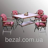 Набор мебели садовой металлической Венеция на 4 персоны с каминницей