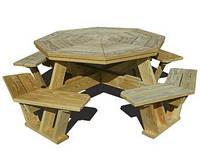 Комплект садовой мебели из массива сосны Геометрия №1 (ф1,8м-2м)