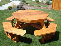 Комплект садовой мебели из массива сосны Геометрия №2 (ф1,8м-2м)