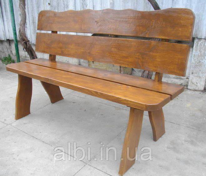 Скамья Мещанка №2 со спинкой 1,3м-1,5м садовая, деревянная мебель для дачи