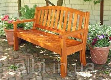Скамья садовая, деревянная мебель для дачи Флокс со спинкой