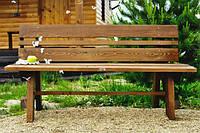 Скамья садовая, деревянная мебель для дачи Ева со спинкой, фото 1