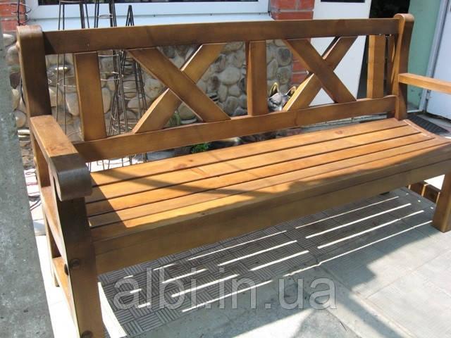 Скамья садовая, деревянная мебель для дачи Сталинка со спинкой 1,8м