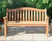 Скамья садовая, деревянная мебель для дачи Паола со спинкой, фото 1