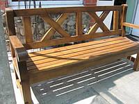 Скамья садовая, деревянная мебель для дачи Сталинка со спинкой 1,6м, фото 1