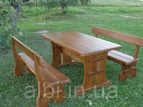 Мебель садовая из натурального дерева  Деревенская КОМПЛЕКТ