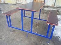 Стол с двумя лавками металлический