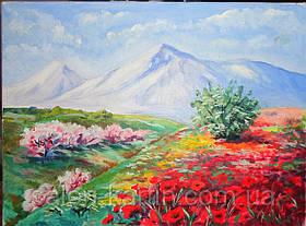 "Картина ""Сакура у подножья горы"""