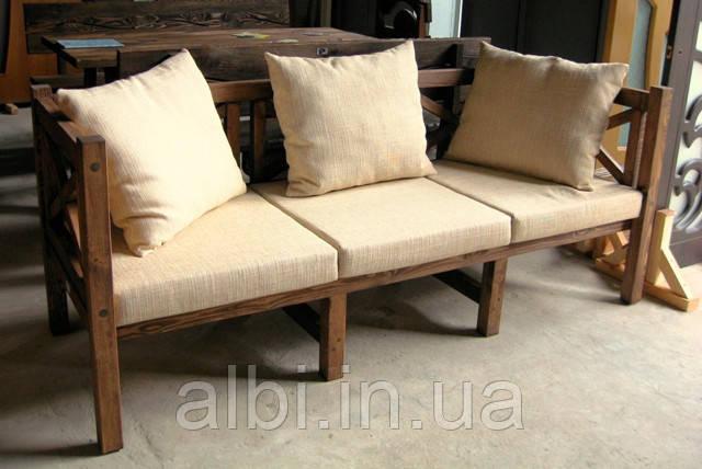 Скамья садовая со спинкой, деревянная мебель для дачи Эмине 2000мм 2600мм