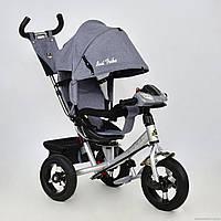 Детский трехколесный велосипед 770В+поворот сидения ткань серый