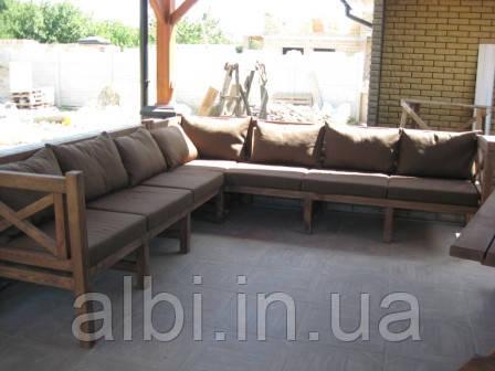 Скамья угловая 2,5м Эмине, деревянная мебель для дачи Эмине