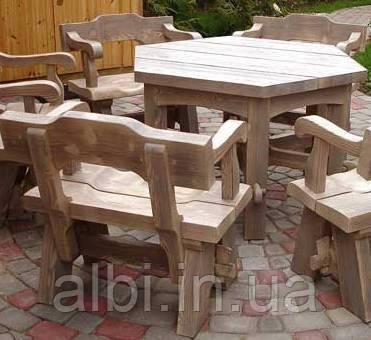 Стол 1,2м из натурального дерева из комплекта Богатырь