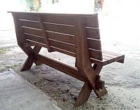 Скамья со спинкой из натурального дерева из комплекта Дельта 3м, фото 1