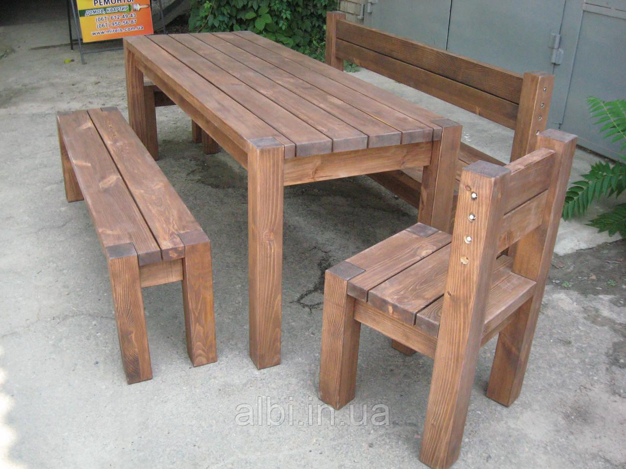 Стол садовый из натурального дерева из комплекта Альфа 1м