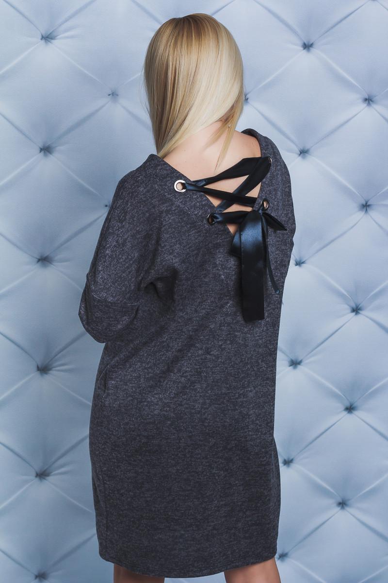 Платье женское со шнуровкой т-серое