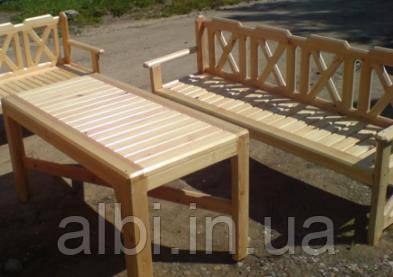 Стол 2м садовый из натурального дерева из комплекта Дачница